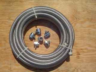 "0088 - Bulk 3/8"" Braided Oil Line plus Clamps"